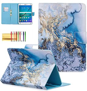 """Techcircle 8 inch Universal Tablet Cover, Colorful PU Leather Stand Flip Wallet Protective Case, for Apple iPad Mini 5 7.9, Kindle Fire HD 8"""", Samsung Galaxy Tab A/Tab S2 8.0, Blue Marble"""