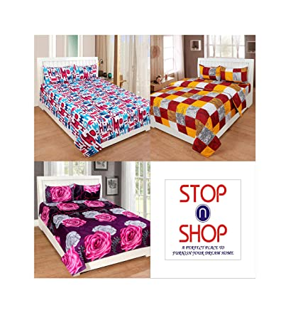 Stop N Shop Super Home Combo 3 Bedsheets With 6 Pillow Covers