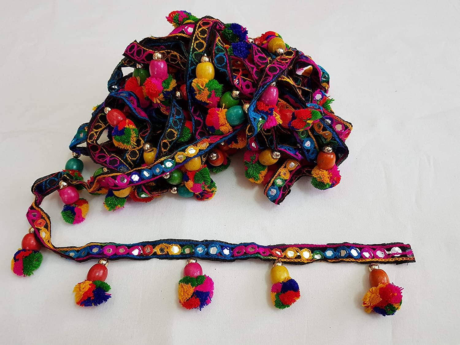 2 METERS - Rainbow Tassel POM POM and WOOD Bead trim handcrafted fringe fabric lace sewing border trim new for craft - Plastic mirror Lace