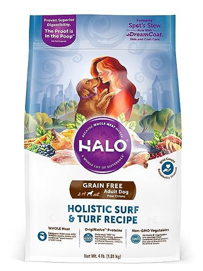 Halo Alimento para perros secos holístico, sin grano para surf y torsión, bolsa de
