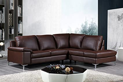 Gentil Cortesi Home Contemporary Dallas Genuine Leather Sectional Sofa With Right  Chaise Lounge, Brown