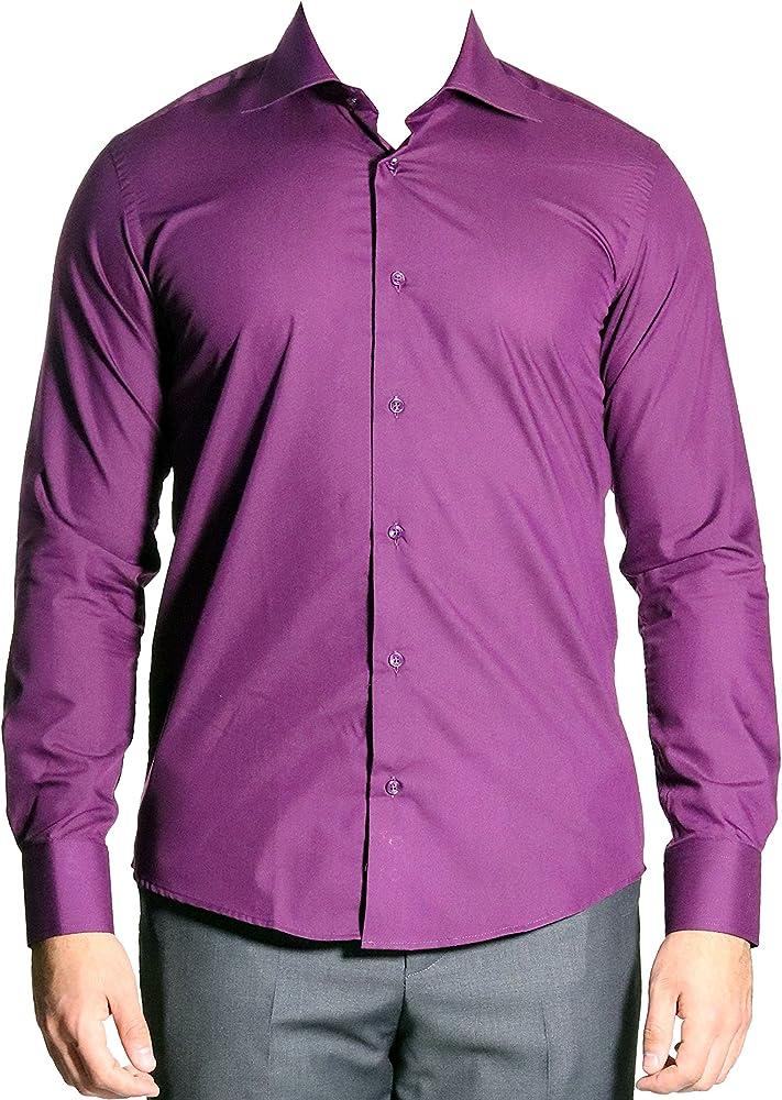 mmuga Extra Manga Larga Camisa de Hombre, Slim-Fit/Entallado, púrpura, Tallas S – 5 x l Morado XXX-Large: Amazon.es: Ropa y accesorios