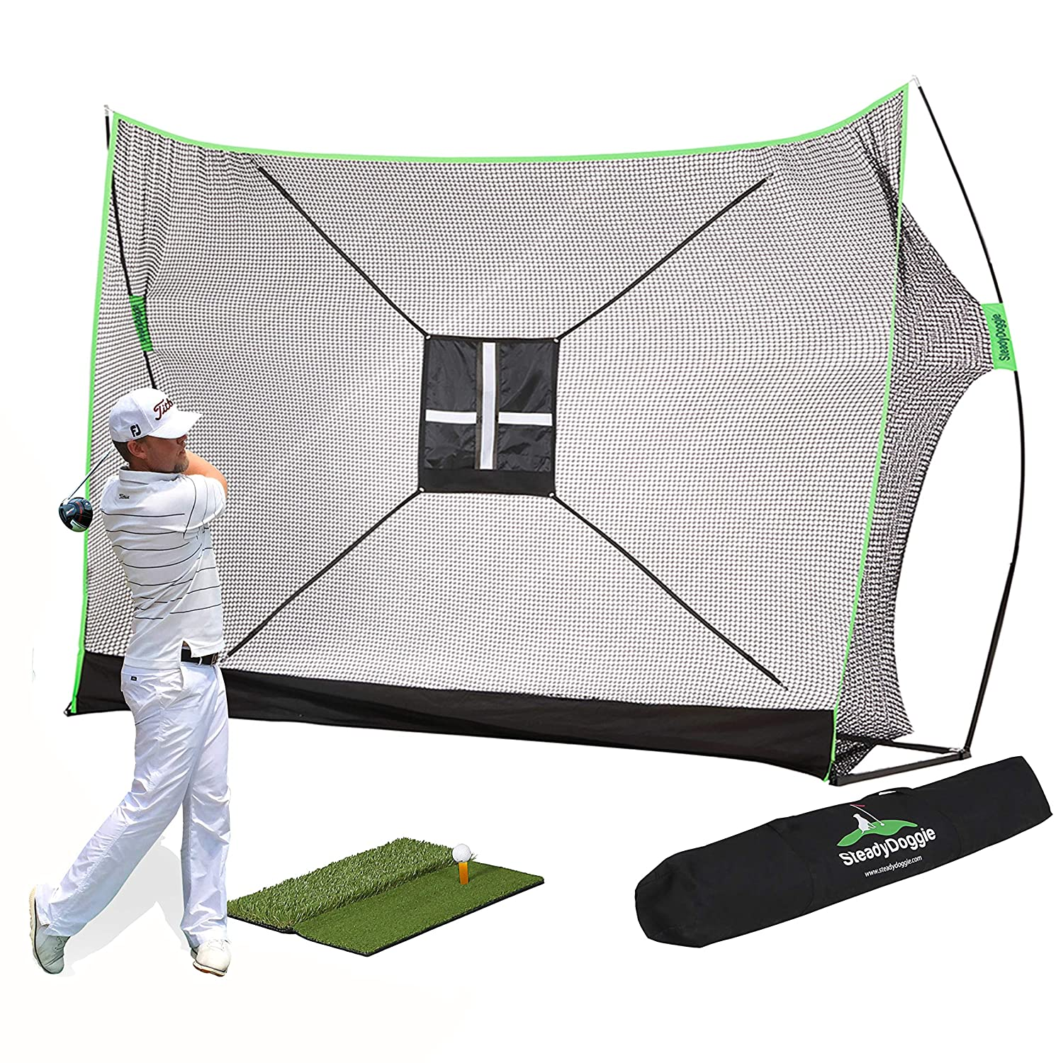 10 x 7ft Golf Net Bundle 4pc & 3pc-Professional Patent Pending Design-Dual-Turf Golf Mat, Chipping Target and Carry Bag-The Right Choice of Golf Nets for Backyard Driving & Golf Hitting Nets