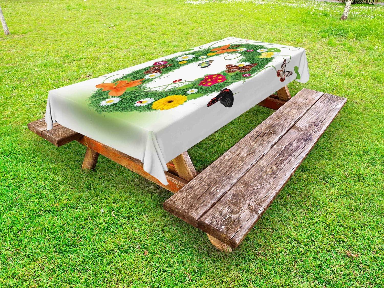Nappe de Table de Pique-Nique Lavable et D/écorative Papillons Springtime 145 cm x 210 cm ABAKUHAUS Lettre O Nappe Ext/érieure Multicolore