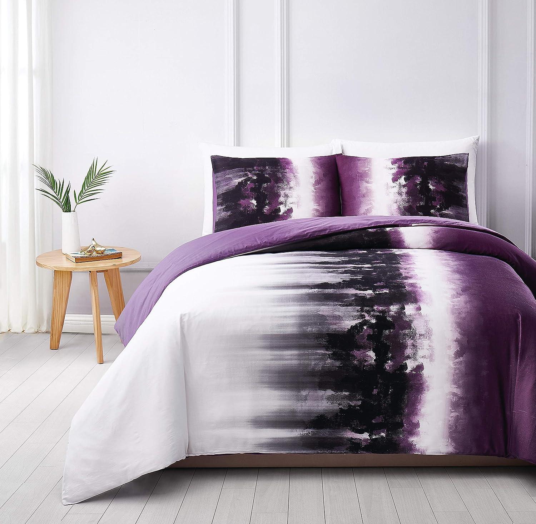 Vince Camuto Mirrea Comforter Set, King, White/Purple