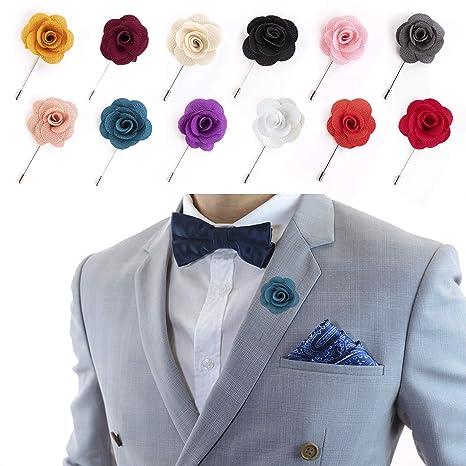 02e69d79e4bdc JLIKA Lapel Flower Pin Rose for Wedding Boutonniere Stick (Set of 12 ...