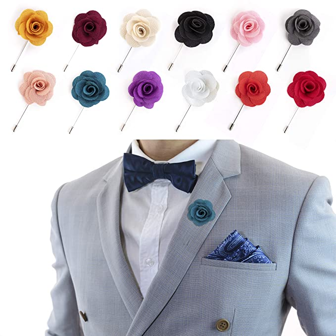00244dfbfde7 Lapel Pins for Men Flower Pin Rose for Wedding Boutonniere Stick Boutineers  (Set of 12