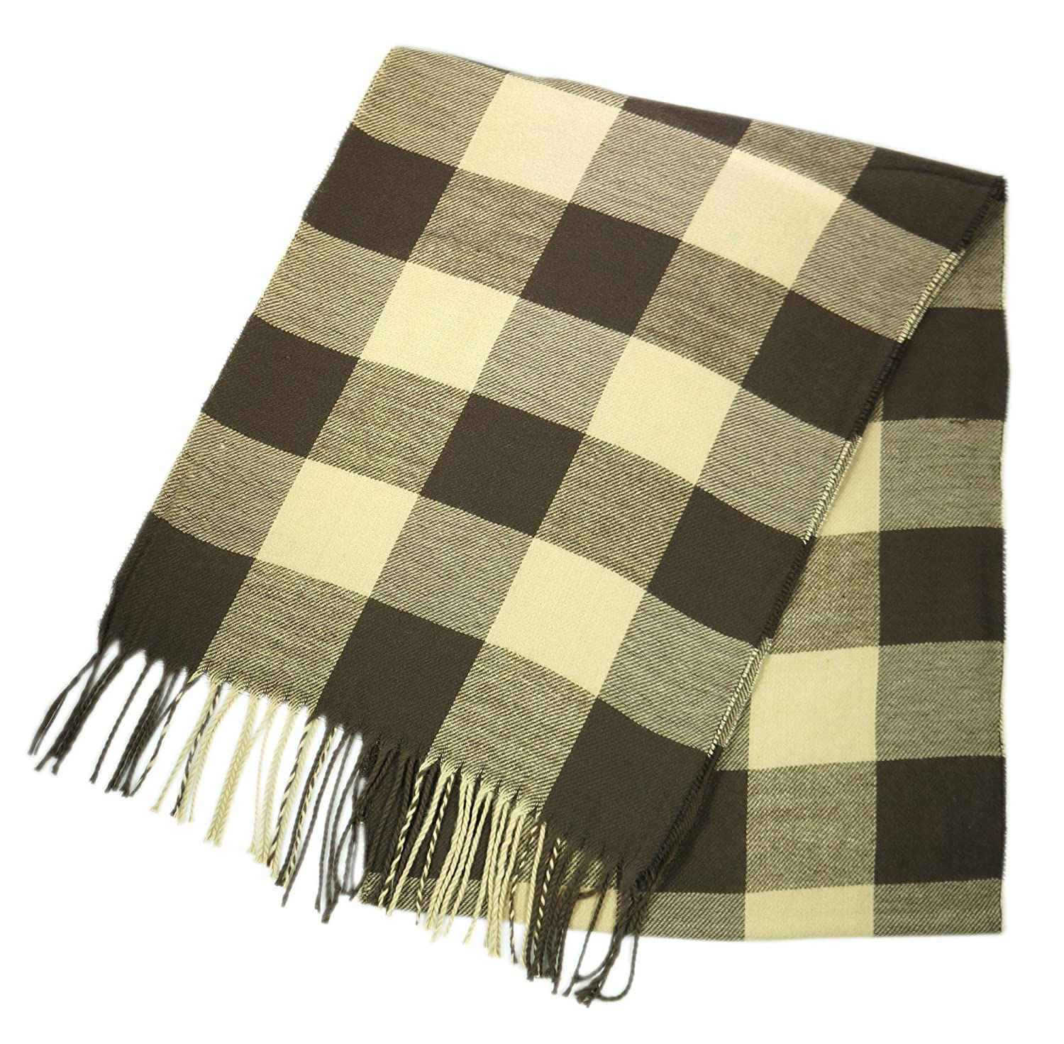 Brown & Beige Plaid Checkers Unisex Plaid Cashmere Feel Winter Scarf 7 Comets