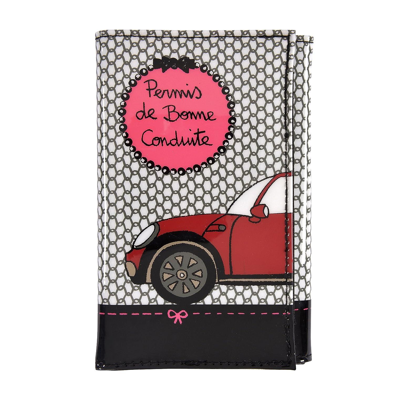 DERRIERE LA PORTE - Portadocumenti per patente 'Bonne Coonduite', colore: Nero / Rosa D026-V020330