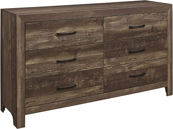 Benjara 6 Drawer Rustic Wooden Double Dresser With Block Legs Support Brown Furniture Decor