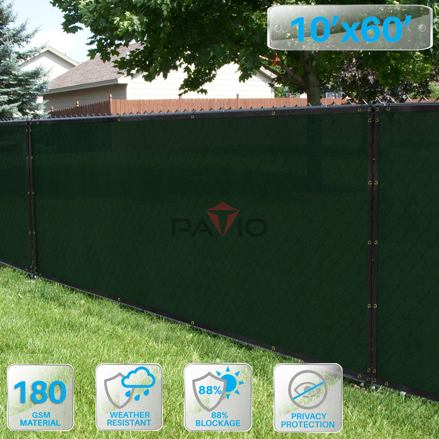 Patio Fence Privacy Screen 10' x 60', Pergola Shade Cover Canopy Sun Block, Heavy Duty Fence Privacy Netting, Commercial Grade Privacy Fencing, 180 GSM, 90% Privacy Blockage (Dark Green)
