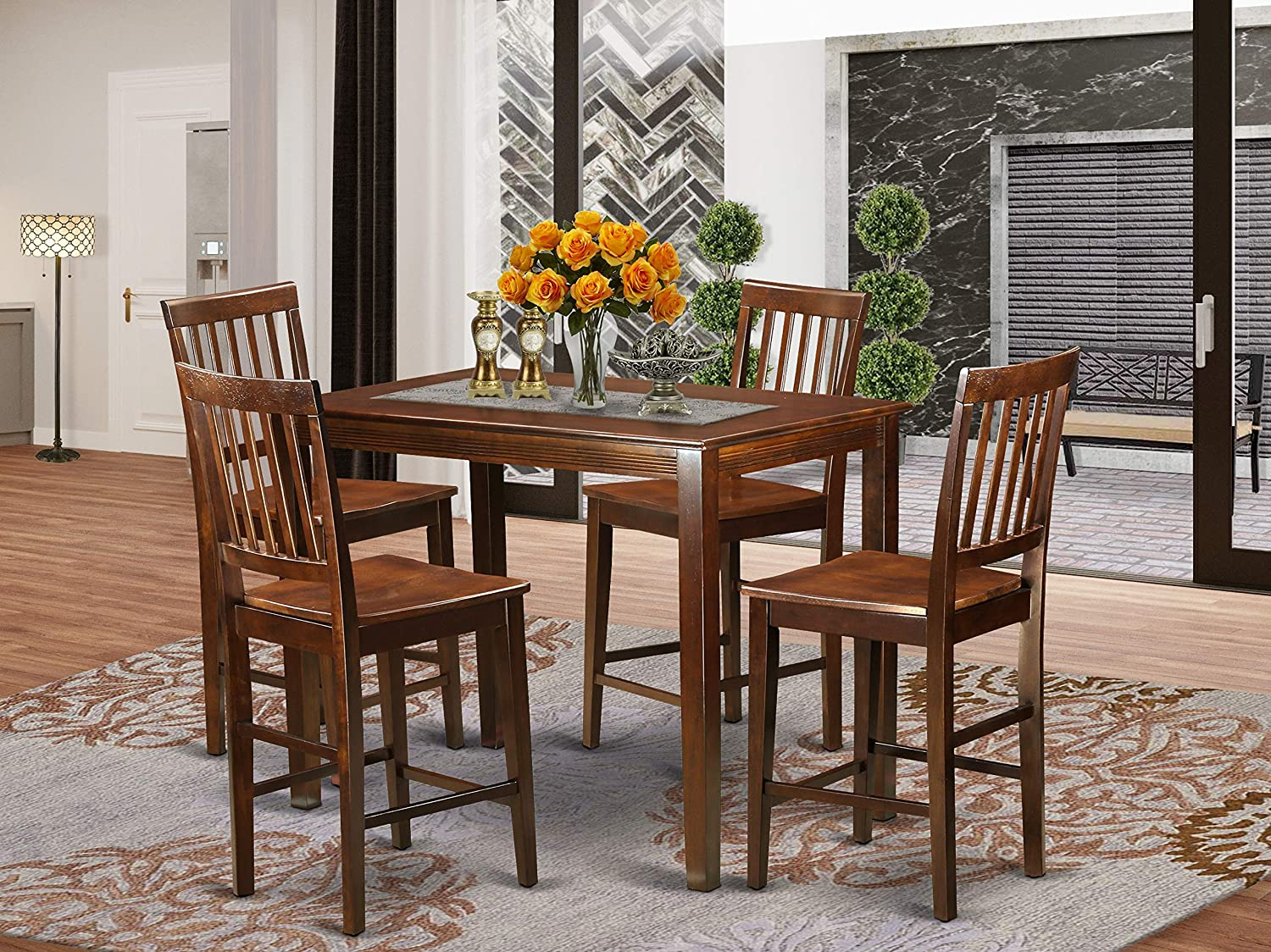 5 Pc Dining counter height set-pub Table and 4 Dining Chairs.