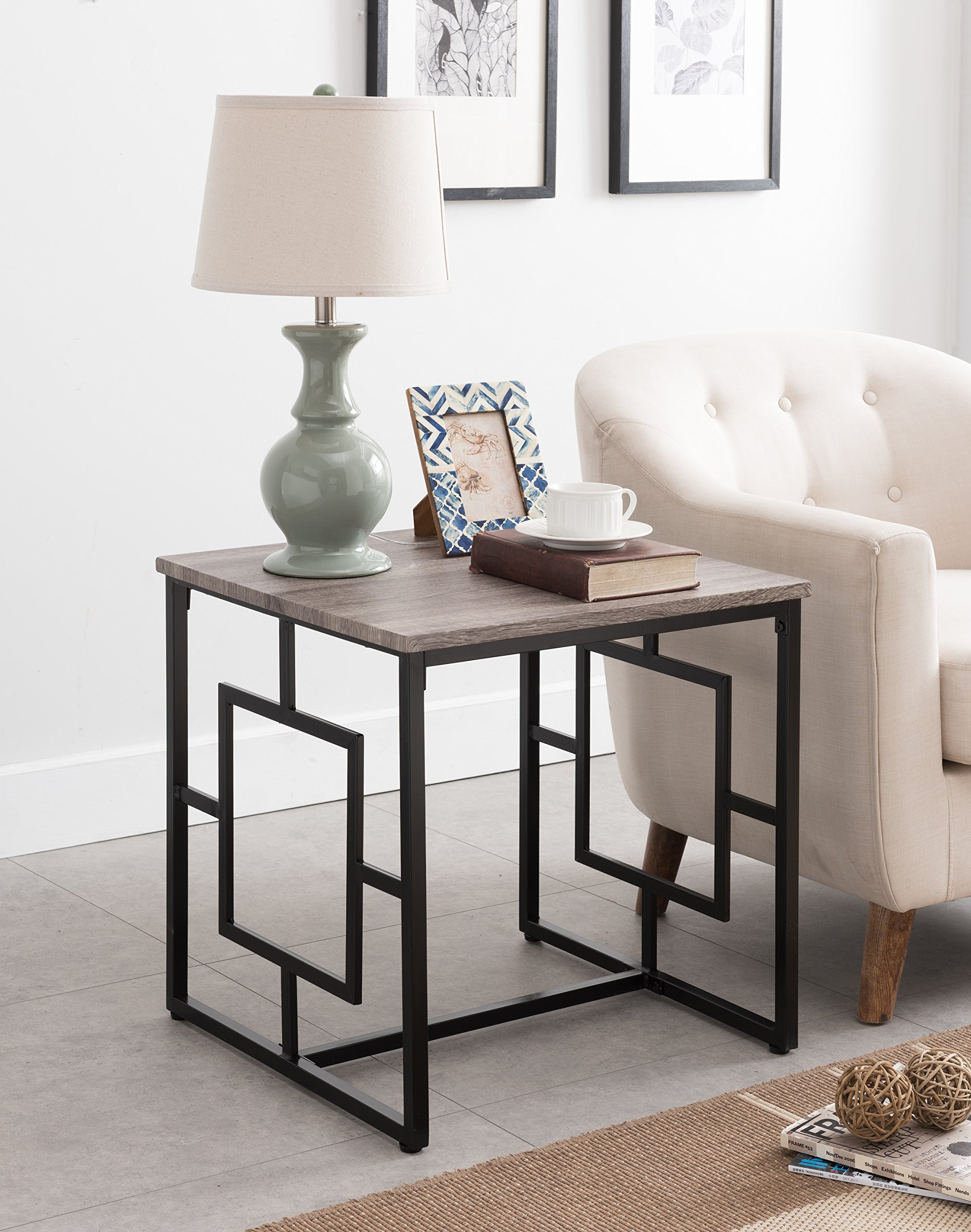 """Weathered Grey Oak / Black Frame Square Design Side End Table 22""""H - Color: Weathered Grey Oak and Black Material: Metal, MDF/Hardwood Features large table square surface for display - living-room-furniture, living-room, end-tables - 914ae9RyVxL -"""