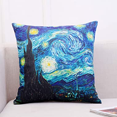 Gyulin Van Gogh Painting Picture Print Cotton Linen Blend Square Toss Pillowcase Cushion Cover Pillow Case for Couch Sofa Only Cover No Insert 18x18 inches (Starry Night Over The Rhone)