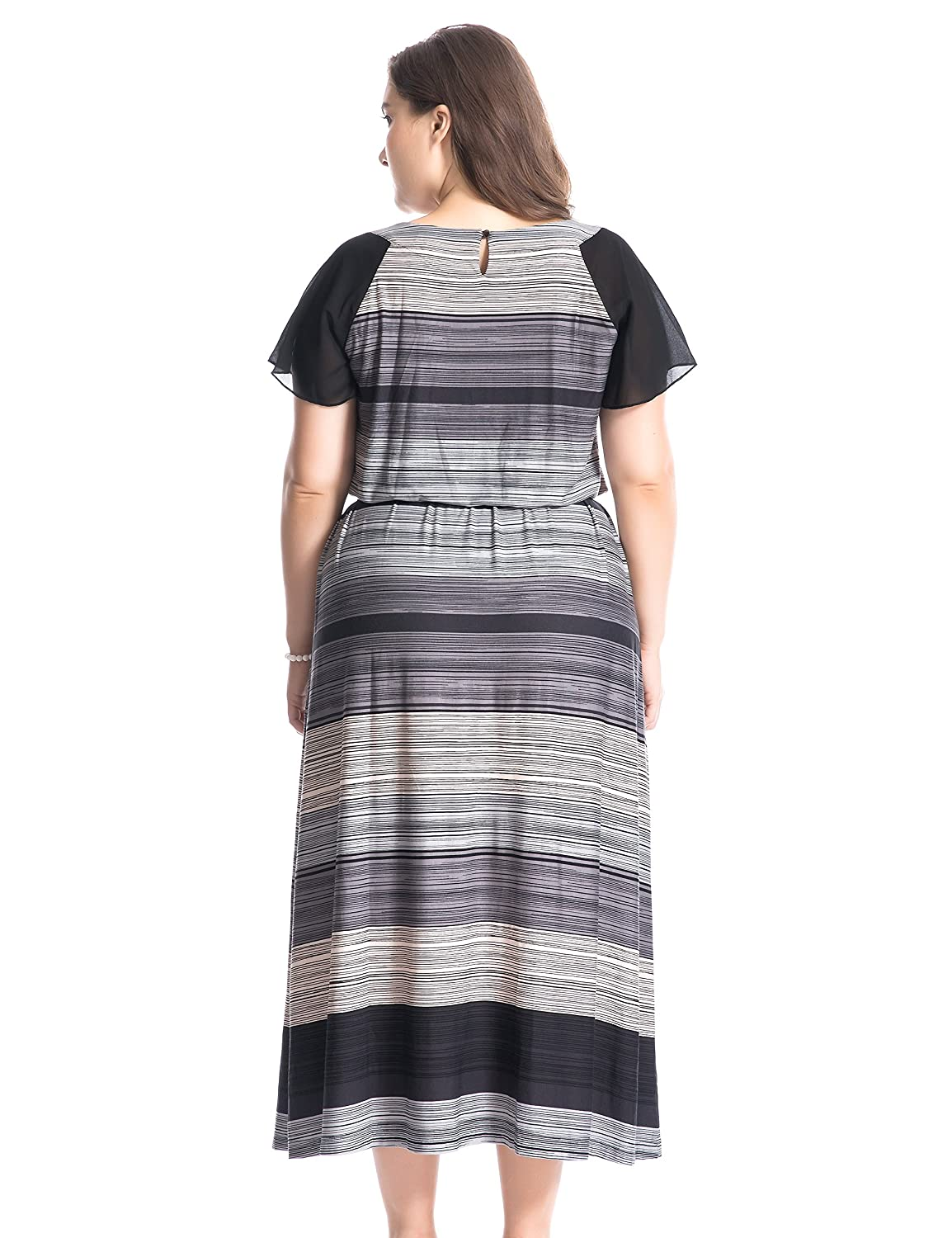 Chicwe Women\'s Plus Size Printed Raglan Sleeves Maxi Dress with ...