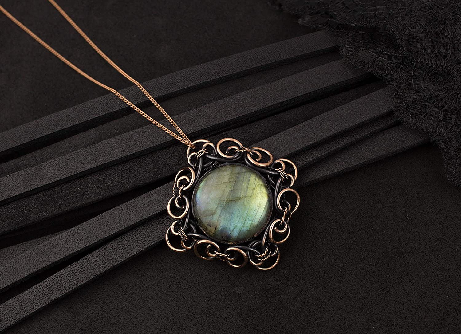 Amazon Com Wire Wrapped Necklace With Round Natural Stone Blue