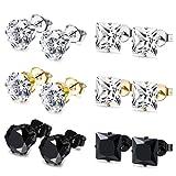 Amazon Price History for:JOERICA 6 Pairs Stainless Steel Stud Earrings for Men Women CZ Earrings,3-8MM