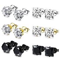 Thunaraz 6 Pairs Stainless Steel Stud Earrings for Men Women CZ Earrings,3-8MM