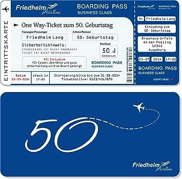 Einladungskarten zum Geburtstag als Flugticket mit Abriss-Coupon ...