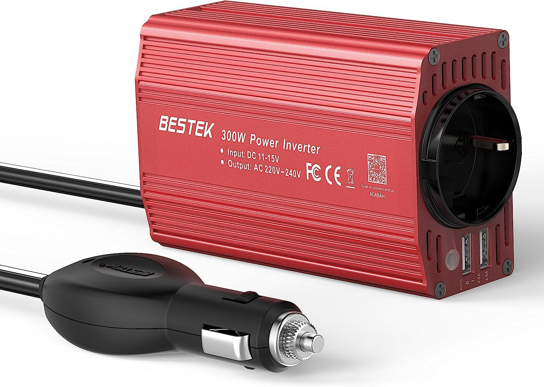 BESTEK Inversor 12V 220V 300W, Inversor de Corriente Transformador Con 2 Puertos USB Y 1 Toma Enchufe