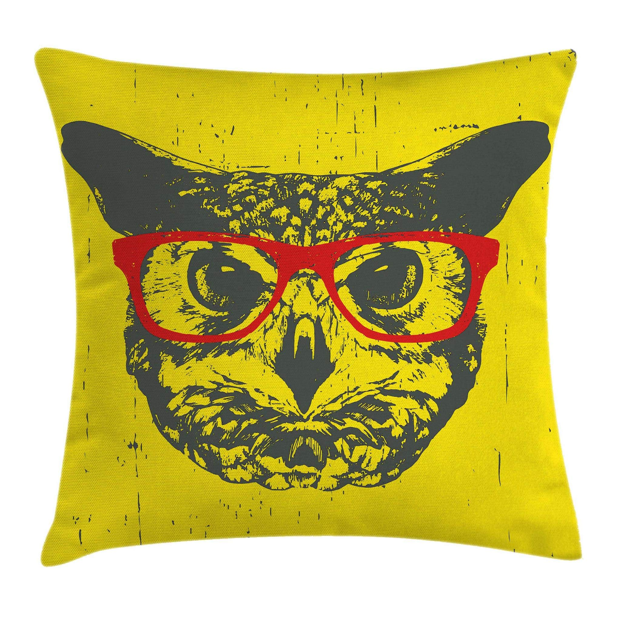 Ambesonne Modern Throw Pillow Cushion Cover, Owl with Glasses Portrait Hipster Nocturnal Animal Grunge Humor Graphic, Decorative Square Accent Pillow Case, 18 X 18 Inches, Dark Grey Yellow Red by Ambesonne