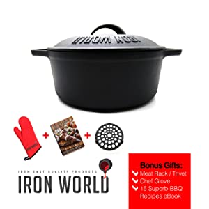 iron cast dutch oven 3.5 quart by iron world - pot with lid pre seasoned and nonstick. iron cookware great for cooking baking frying soup casserole camping. heavy duty rust proof bonus meat rack