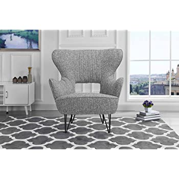 Mid-Century Modern Linen Fabric Accent Armchair Shelter Style Living Room Chair (Light Grey)