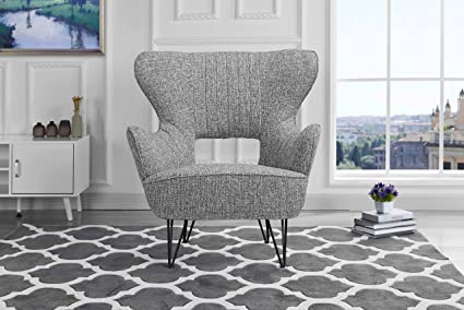 Amazon.com: Mid-Century Modern Linen Fabric Accent Armchair with ...