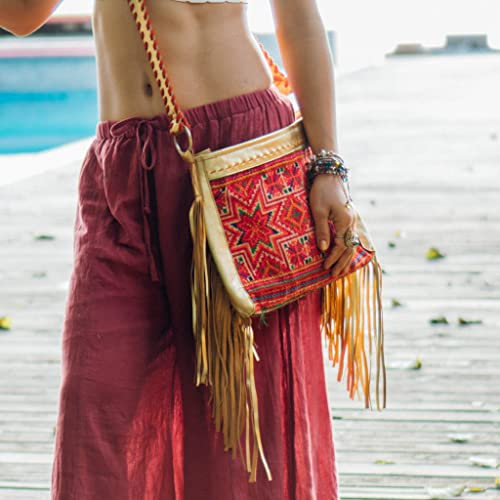939ac20b41 Image Unavailable. Image not available for. Color  Changnoi Boho Woman s  Fringe Sling Bag with Unique Vintage Hmong Embroidered ...