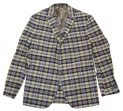 41e19e624 Polo Ralph Lauren Mens Blazer Sport Coat Jacket Plaid Green Navy Red Italy  44R