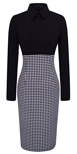 HOMEYEE Women's Voguish Houndstooth Long Sleeve Career Pencil Dress B31