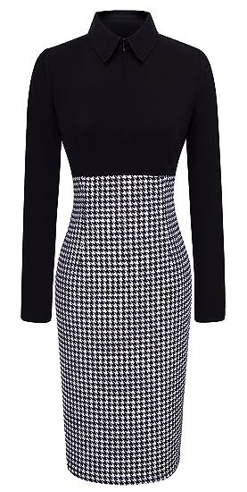 8c5cb8392194 HOMEYEE Women's Voguish Houndstooth Long Sleeve Career Pencil Dress B31 (4,  Black)