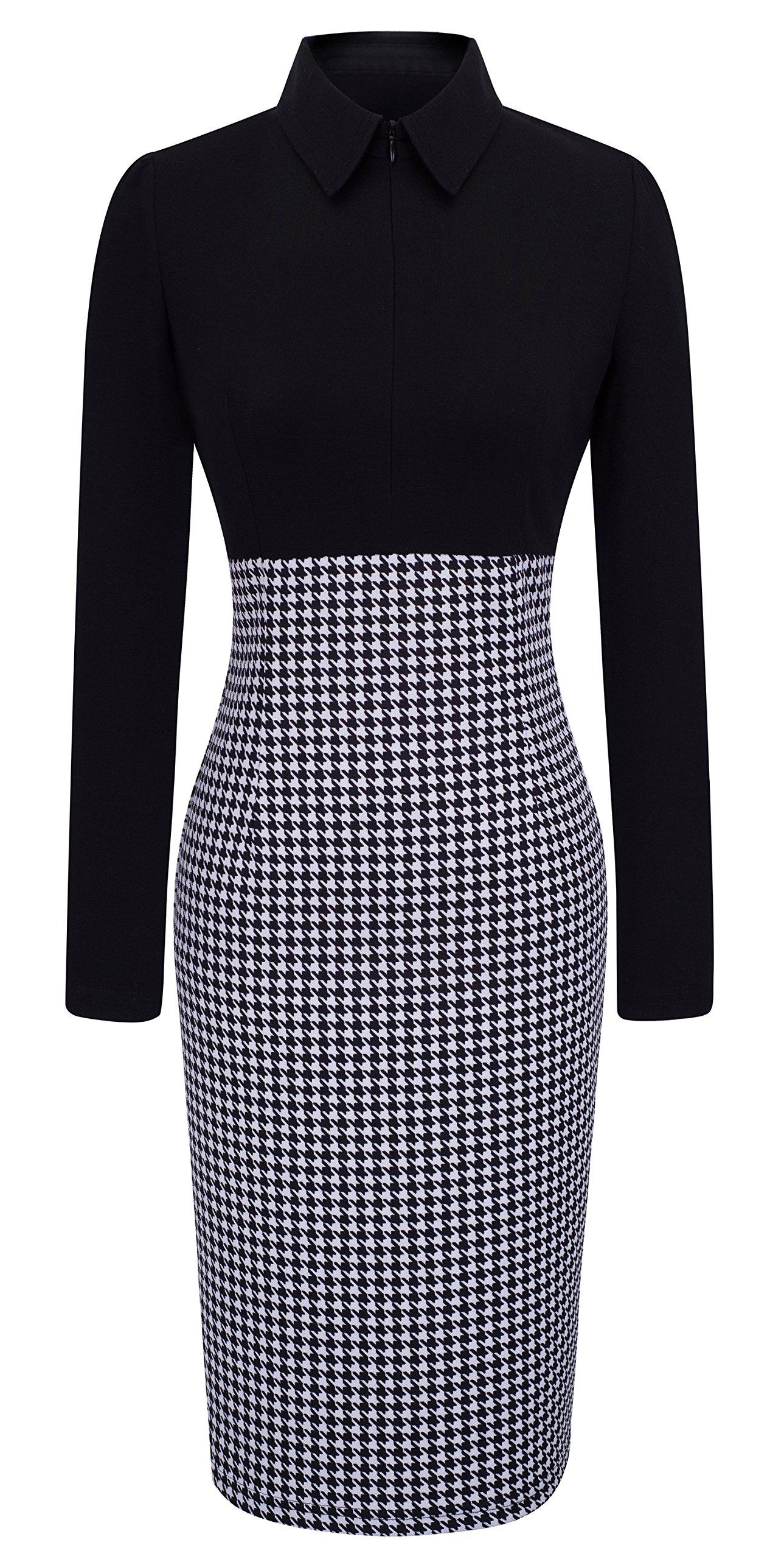 HOMEYEE Women's Voguish Houndstooth Long Sleeve Career Pencil Dress B31 (4, Black) by HOMEYEE