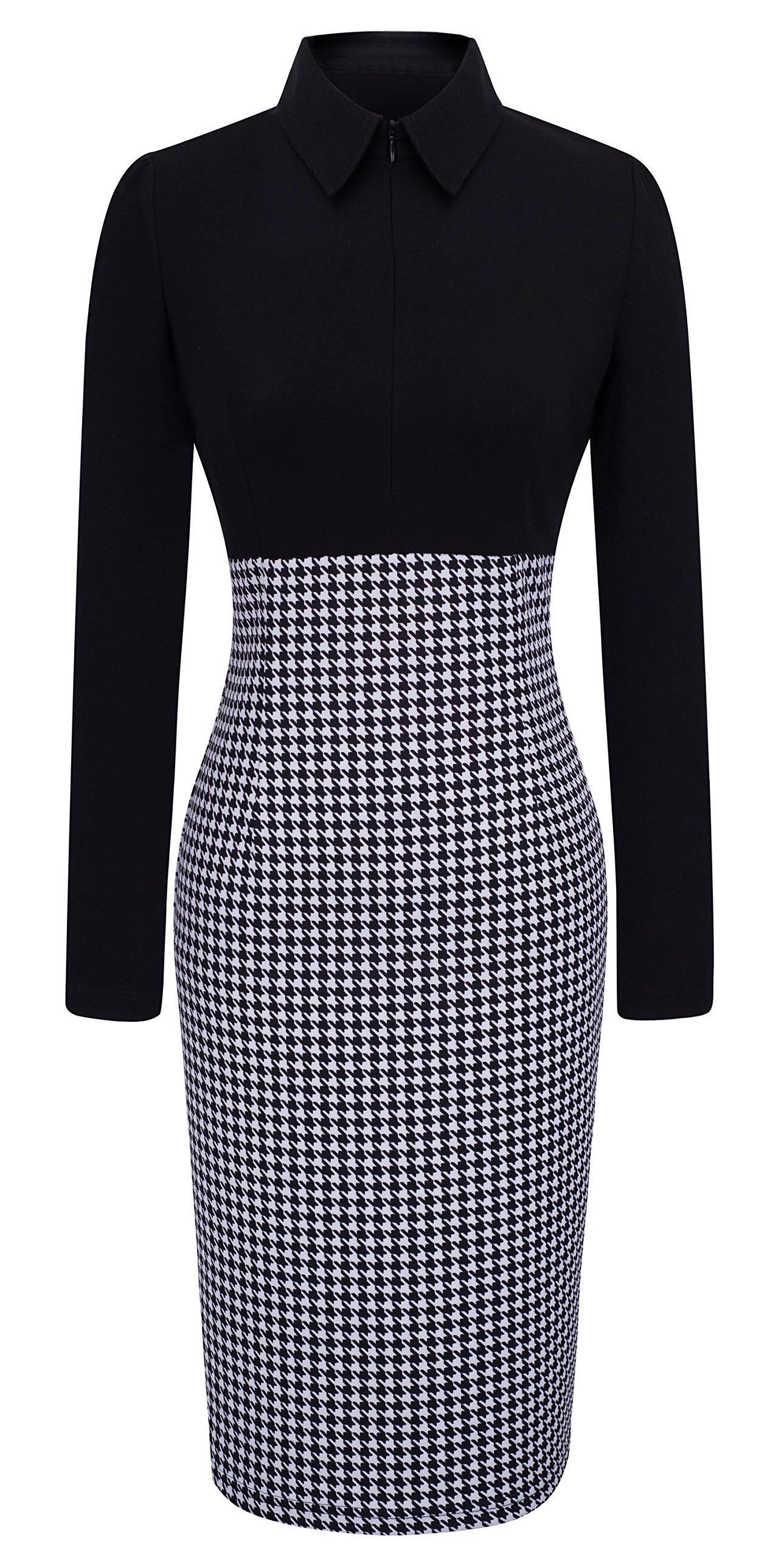HOMEYEE Women's Voguish Houndstooth Long Sleeve Career Pencil Dress B31 (4, Black)