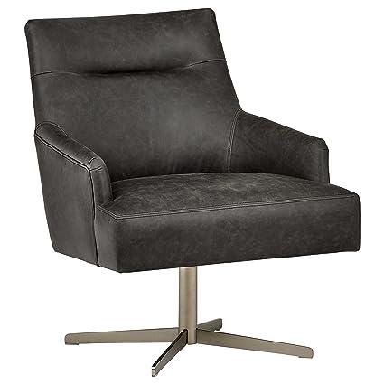 Amazoncom Rivet Zane Mid Century Modern Swivel Top Grain Leather