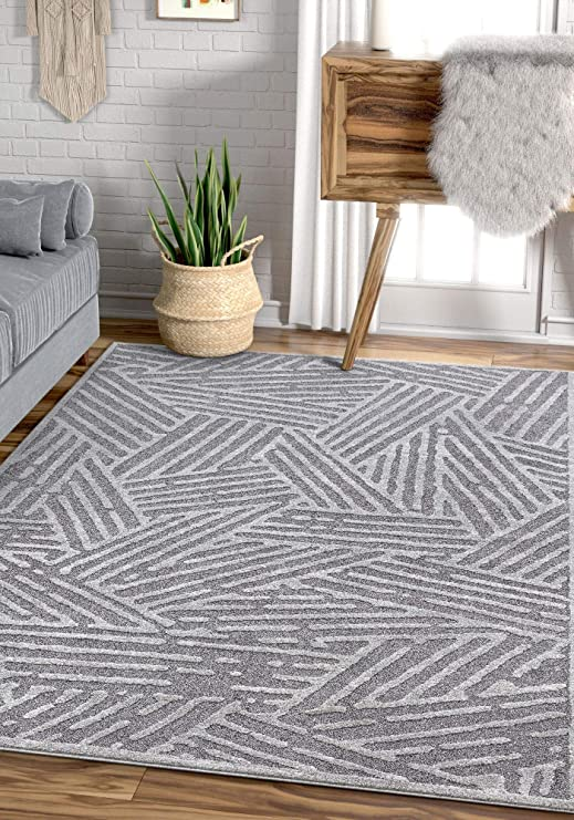 Amazon Com Well Woven Malaga Tukker Modern Tribal Geometric Grey Area Rug 5 3 X 7 3 Furniture Decor