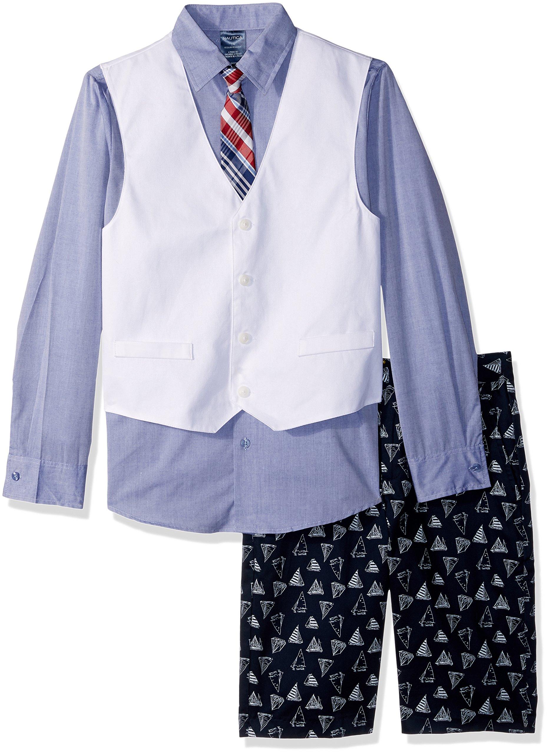Nautica Big Boys' Set with Vest, Pant, Shirt, and Tie, Sailboat White, 16