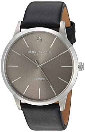 87c0f171661 Image Unavailable. Image not available for. Color  Kenneth Cole New York  Men s Diamond Stainless Steel Japanese-Quartz Watch with Leather Strap
