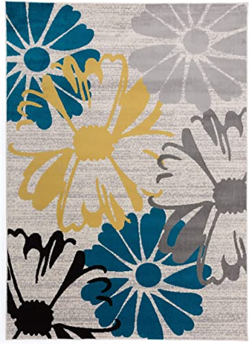 Contemporary Modern Flowers Area Rugs Cream 7' 6″ x 9'5″