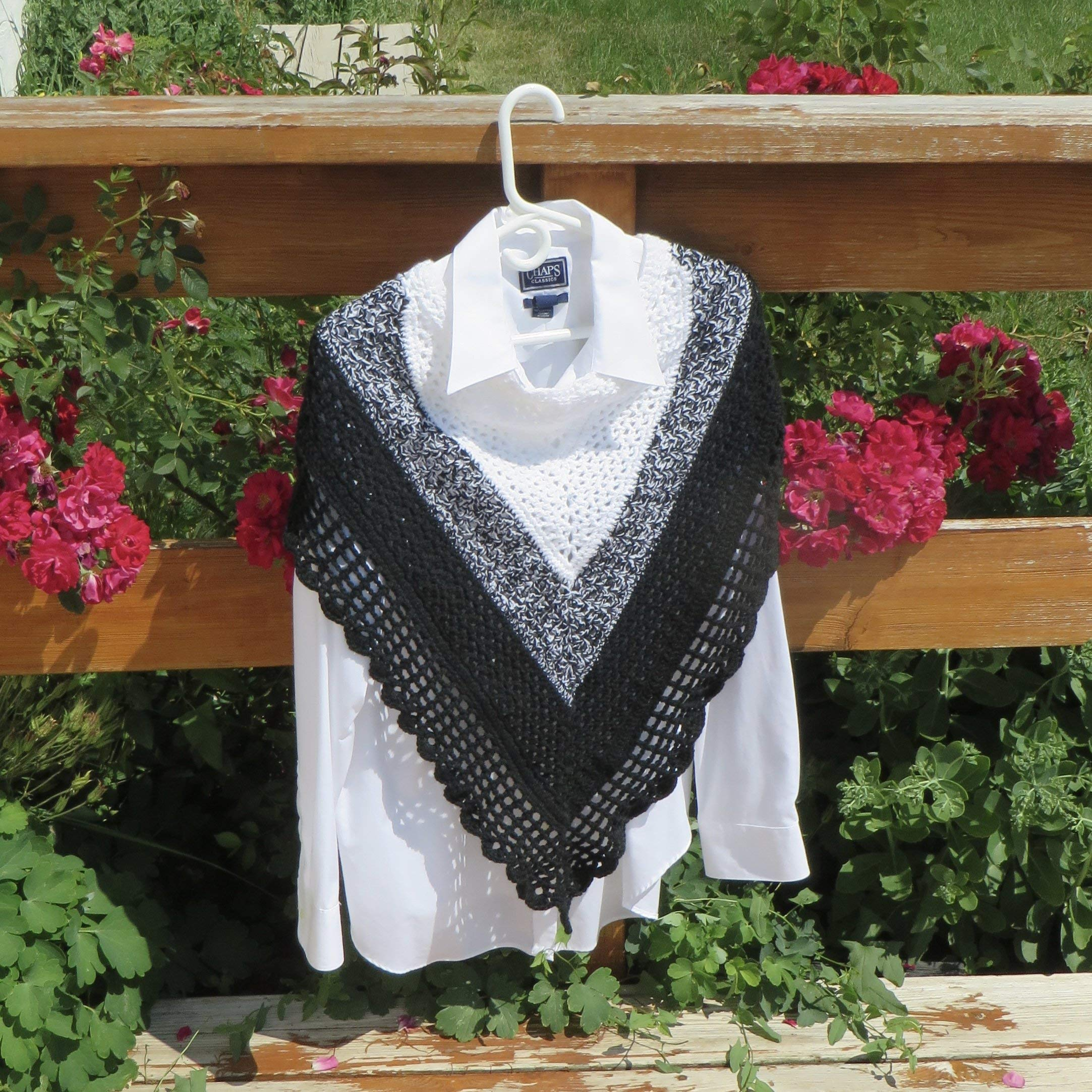 Black and White Poncho/Shawl/Wrap