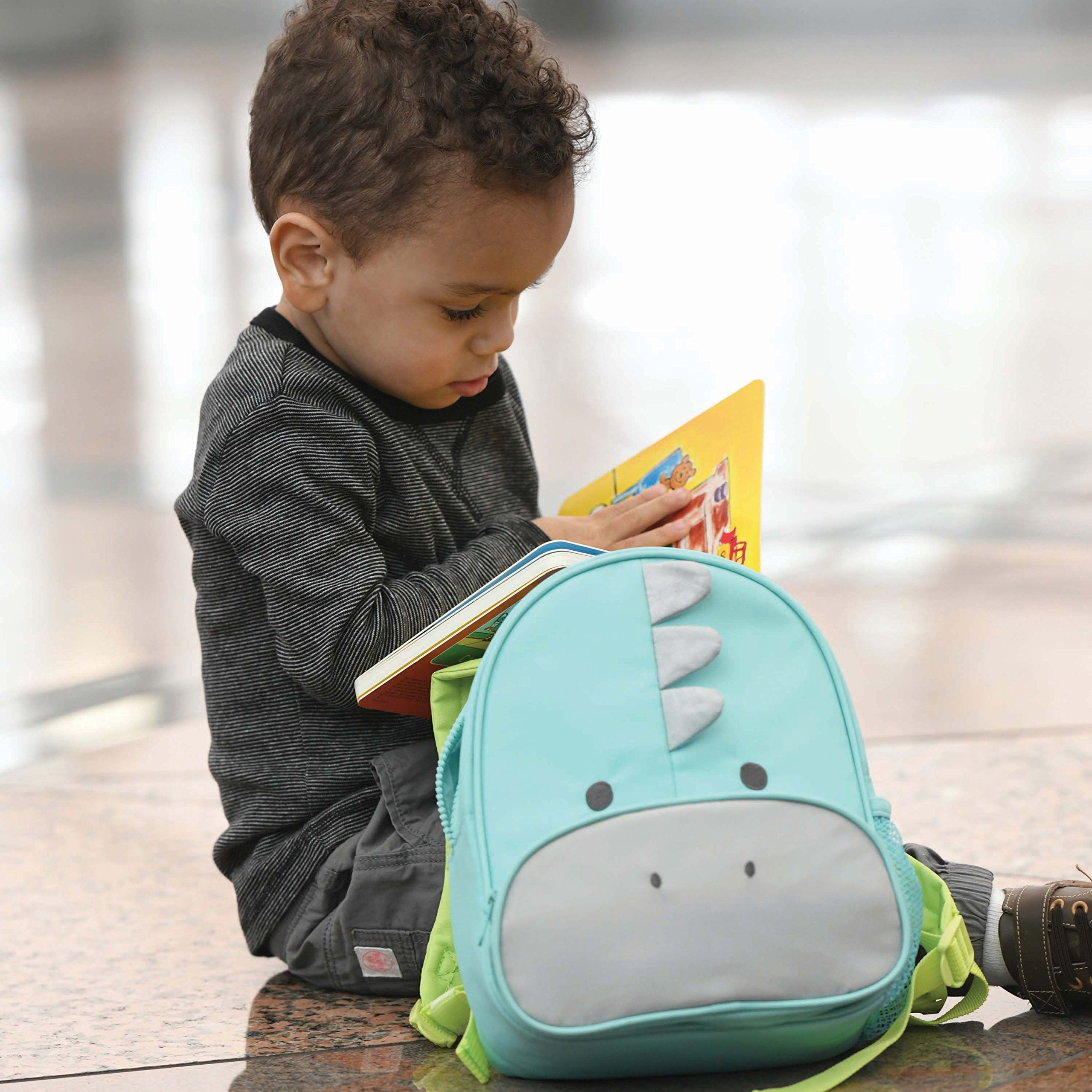 Travel Bug Toddler Safety Dinosaur Backpack Harness with Removable Tether, Teal/Grey by Travel Bug (Image #3)