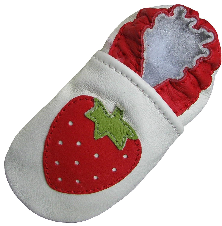 Carozoo Fraise Blanc Strawberry white Chaussures B/éb/é Semelle Souple Fille Pantoufle