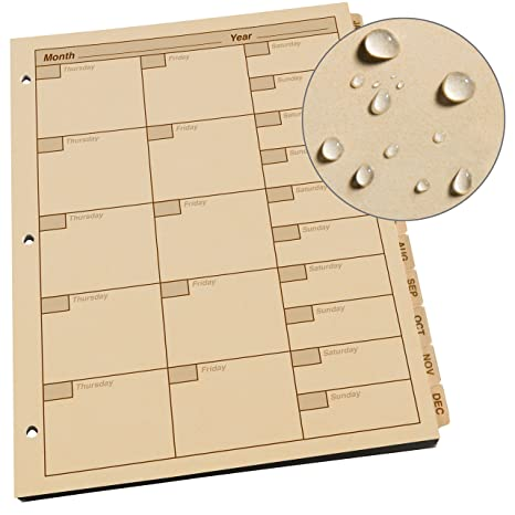 Rite in the Rain Weatherproof Monthly Planner Tab Set, 8 1/2