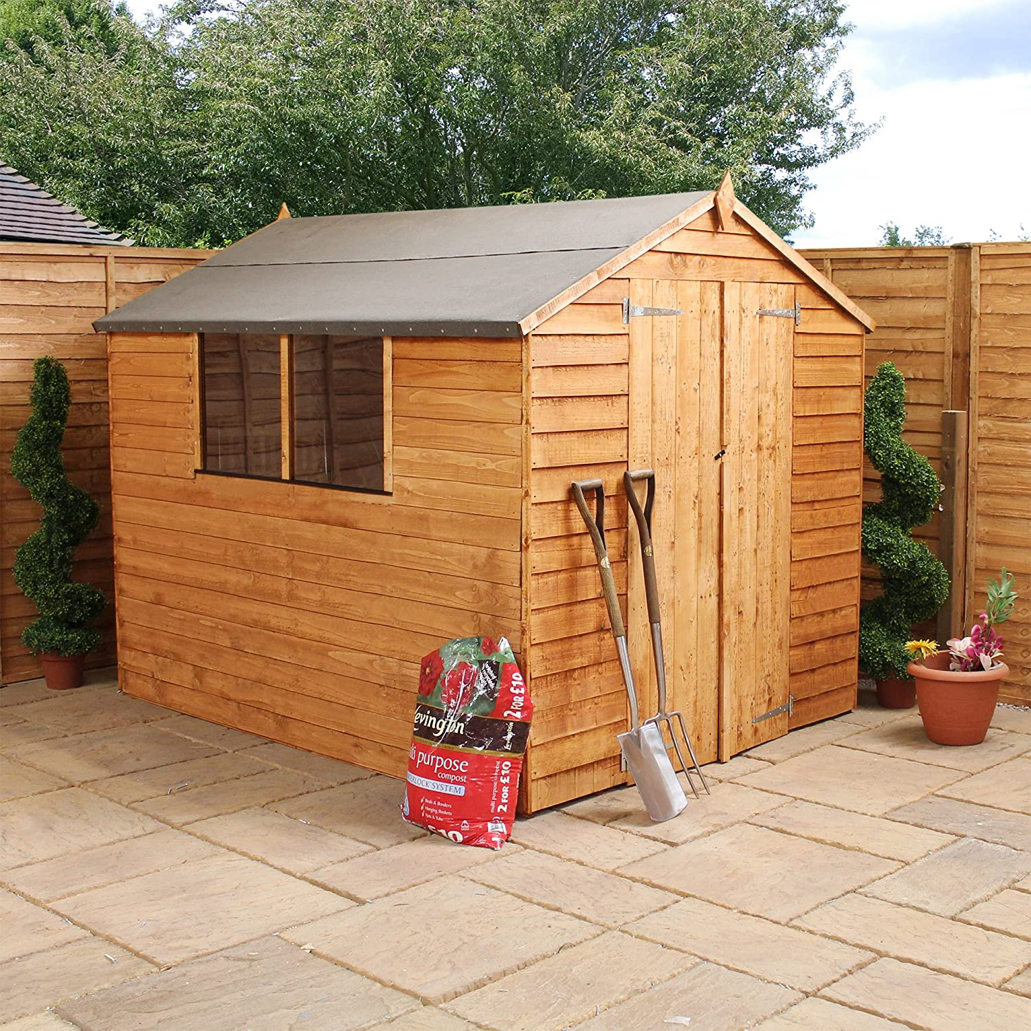 wooden overlap apex garden shed with double door amazon co uk