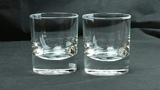 Crown Royal Rocks Glasses Heavy Bottomed Whiskey Etched Image Bar Kitchen