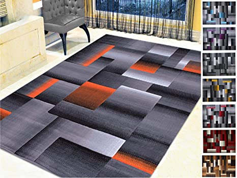 Handcraft Rugs Orange Black Gray Abstract Geometric Modern Squares Pattern Area Rug 5 Ft By 7 Ft