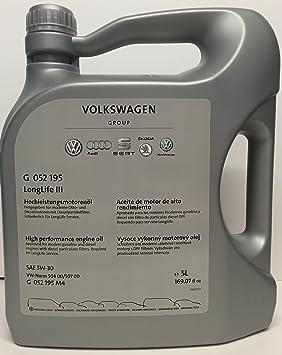 Volkswagen VW G 052 195 M4 Original LongLife III 5W-30 Aceite de Motor 5 L: Amazon.es: Coche y moto