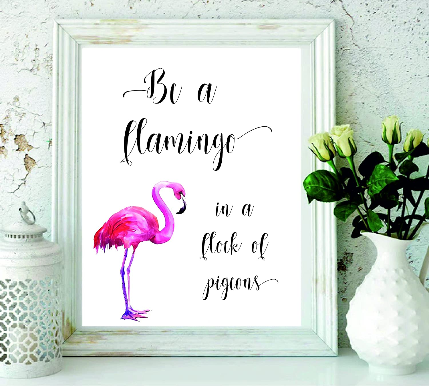 Signatives flamingo wall print wall art wall décor kids room décor nursery décor bedroom décor girls room décor large wall art housewarming