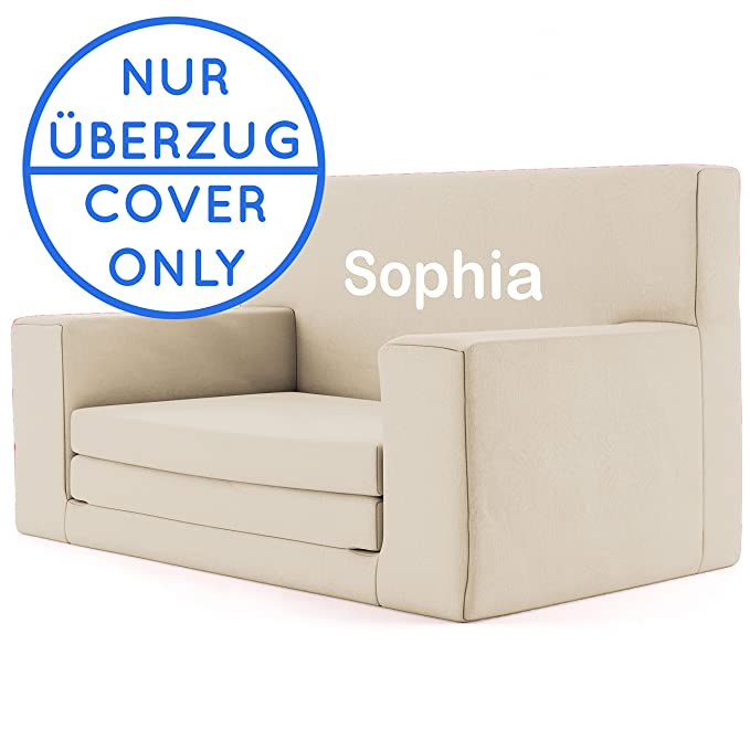 Replacement Cover for: Sucedáneo Funda de 2 en 1 sofá cama infantil color Beige de espuma viscoelástica: sofá cama súper suave y seguro para niños entre 1 y ...
