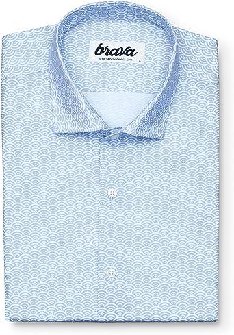 Brava Fabrics | Camisa Hombre Manga Larga Estampada | Camisa Blanca para Hombre | Camisa Casual Regular Fit | 100% Algodón | Modelo Shibuya: Amazon.es: Ropa y accesorios